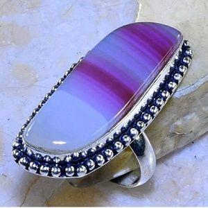 Botswana Agate .925 Handmade Ring Size 9